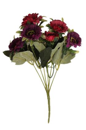 Yapay Çiçek Deposu - Yapay 6lı Gerbera Demeti Mürdüm-Kırmızı