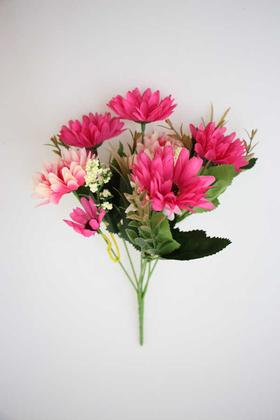 Yapay Çiçek Deposu - Ucuz yapay çiçek iri kafa papatya demeti (koyu pembe)