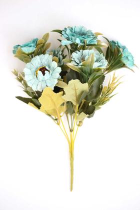 Yapay Çiçek Deposu - Yapay 6lı Gerbera Demeti Turkuaz