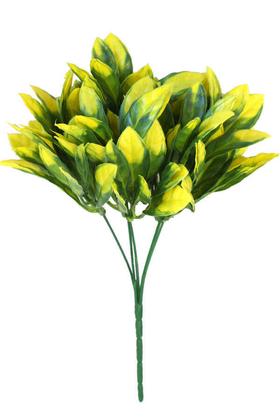 Yapay Çiçek Deposu - Yapay Kalın Yapraklı Bodur Bitki 30 cm Yeşil-Sarı