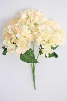 Yapay Çiçek Deposu - Yapay Çiçek 5 Dal Ortanca Demeti Somon-Krem