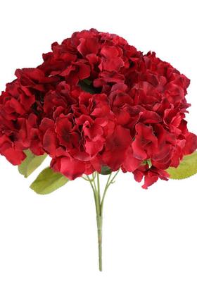Yapay Çiçek Deposu - Yapay Çiçek Büyük Lüx 5 Dal Ortanca Demeti Koyu Kırmızı