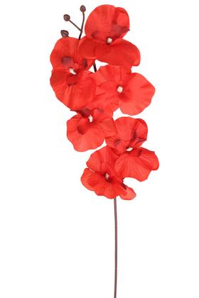 Yapay Çiçek Deposu - Ucuz Yapay Orkide Çiçeği Dalı 65 cm Kırmızı