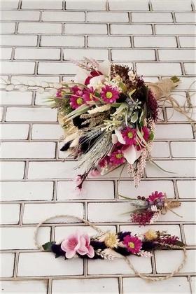 Yapay Çiçek Deposu - Urban Pudra Mor Büyük Kuru Çiçek Gelin Buketi 3lü Set