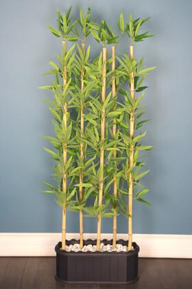 Yapay Çiçek Deposu - Dekoratif Saksıda Kırçıllı Yaprak 5 Çubuklu Bambu Seperatör (20x50x150cm)