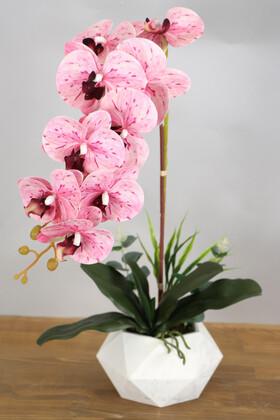 Yapay Çiçek Deposu - Beton Saksıda Yapay Baskılı Islak Orkide 55 cm Pembe Benekli