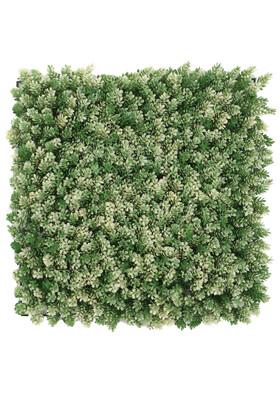 Yapay Çiçek Deposu - Yapay Çamdalı Model Duvar Bitki Kaplaması 50x50 cm Yeşil-Beyaz