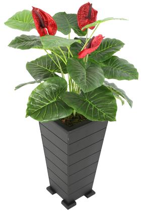 Yapay Çiçek Deposu - Konik Saksıda Yapay Lüx Antoryum Çiçeği Kırmızı