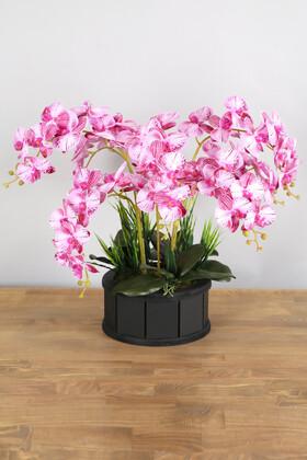 Yapay Çiçek Deposu - Dekoratif Ahşap Saksıda 7 Dal Orkide Tanzimi Fuşya Çizgili
