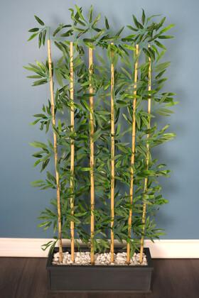 Yapay Çiçek Deposu - Islak Yapraklı 6 Çubuklu Gri Saksıda Bambu Seperatör (20x70x170cm)