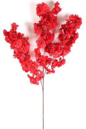 Yapay Çiçek Deposu - Yapay Kaliteli Kabarık Bahar Dalı 95 cm Kırmızı