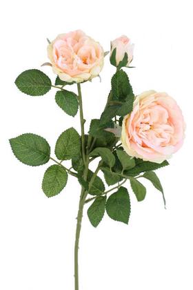 Yapay Çiçek Deposu - Yapay 3lü Lüx Vip Roses Dalı 60 cm Pudra