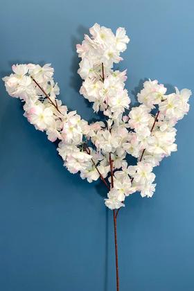 Yapay Çiçek Deposu - Yapay Kaliteli Kabarık Bahar Dalı 95 cm Beyaz-Pembe