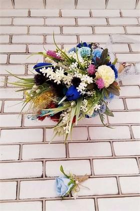 Yapay Çiçek Deposu - Vega Saks Mavi Büyük Kuru Çiçek Gelin Buketi 2li Set