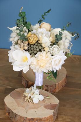 Yapay Çiçek Deposu - Gelin Buketi Cratos 2li Set