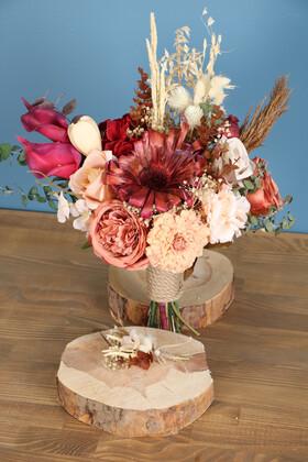 Yapay Çiçek Deposu - Gelin Buketi Oben 2li Set