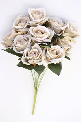 Yapay Çiçek Deposu - Yapay 11 Güllü Pastel Demet 50 cm Ekru