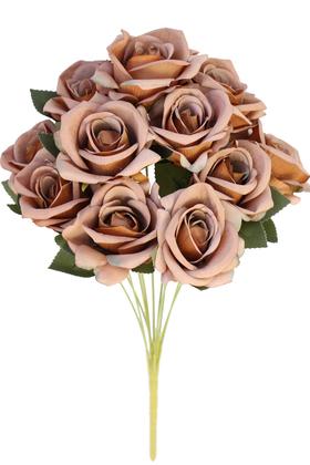 Yapay Çiçek Deposu - Yapay 11 Güllü Pastel Demet 50 cm Kahverengi