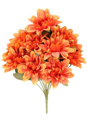 Yapay Çiçek Deposu - Gerçeğe Yakın Dahlia Yıldız Çiçeği 40 cm Turuncu
