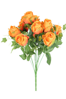 Yapay Çiçek Deposu - Yapay 12 Dal Okaliptuslu Gül Demeti 50 cm Turuncu
