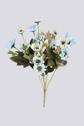 Yapay Çiçek Deposu - Yapay 15li Yeşillikli Papatya Demeti Açık Mavi
