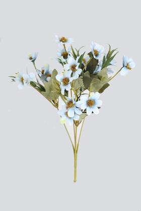 Yapay Çiçek Deposu - Yapay 20li Papatya Çiçeği Demeti Açık Mavi