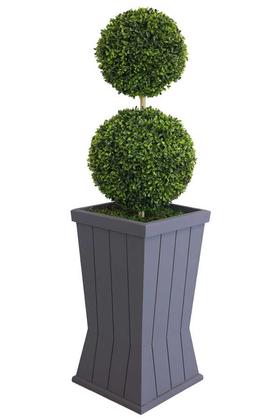 Yapay Çiçek Deposu - Yapay 2li Şimşir Top 110cm (Dekoratif Ahşap Saksılı)