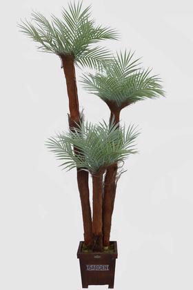 Yapay Çiçek Deposu - Yapay 3 Gövdeli Pudralı Sıkas Agacı 160cm
