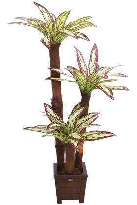Yapay Çiçek Deposu - Yapay 3lü Ağaç 130 cm Kiremit-Yeşil