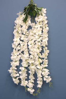 Yapay Çiçek Deposu - Yapay 5li Sarkan Akasya 90 cm Kırık Beyaz