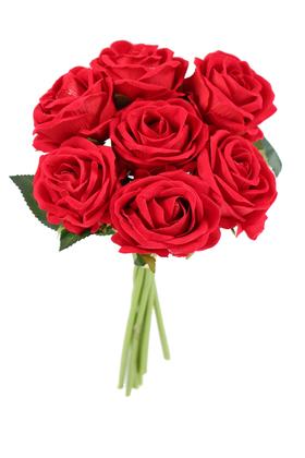 Yapay Çiçek Deposu - Yapay 7li Kadife Ekvator Gülü Boru Saplı Kırmızı