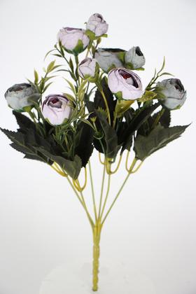 Yapay Çiçek Deposu - Yapay Çiçek Pastel Şakayık Gül Demeti 30cm Turkuaz-Lila