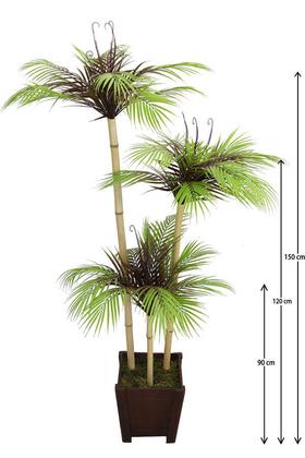 Yapay Çiçek Deposu - Yapay Ağaç 3 Bambu Gövdeli Fenix Ağacı 150 cm