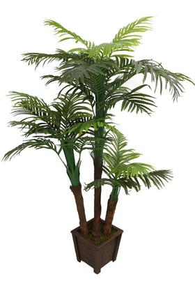 Yapay Çiçek Deposu - Yapay Ağaç 3 Gövdeli Areka Palmiyesi Ahşap Saksıda 170cm