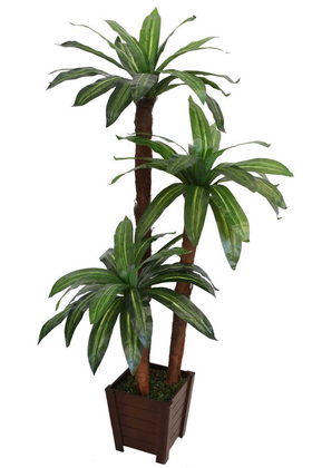Yapay Çiçek Deposu - Yapay Ağaç 3 Gövdeli Cordyline 160 cm Sarı Çizgili Model