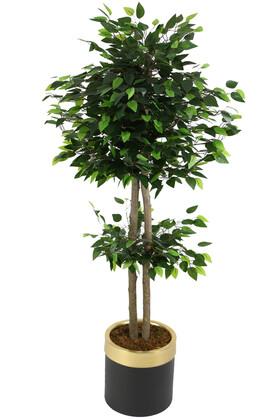 Yapay Çiçek Deposu - Metal Saksıda Yapay Benjamin Ağacı 160 cm