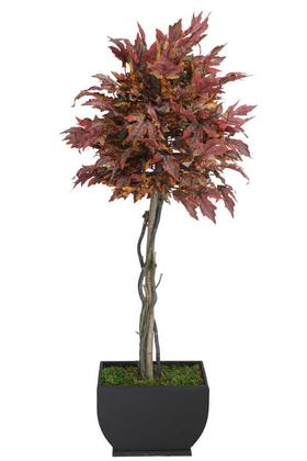 Yapay Çiçek Deposu - Yapay Ağaç Bodur Akçaağaç Ağacı 150cm Bordo-Sarı-Yeşil
