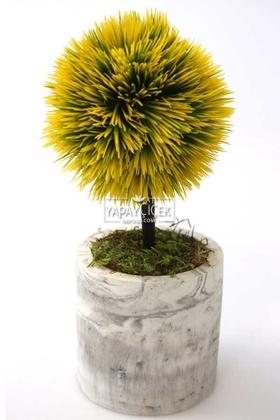 Yapay Çiçek Deposu - Yapay Ağaç Handmade Mermer Görünümlü Beton Saksıda Mini Top Kirpi Sarı-Grafitigri Saksı