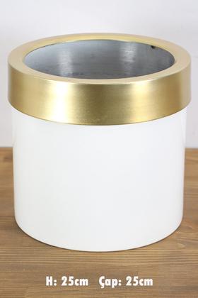 Yapay Çiçek Deposu - Dekoratif Metal Saksı Beyaz Altın 25 cm