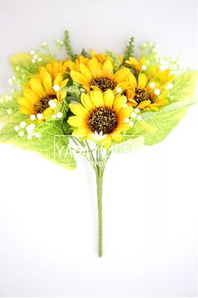 Yapay Çiçek Deposu - Cipsolu Yapay 9lu Ayçiçeği Demeti 35 cm