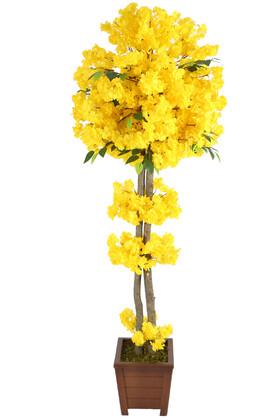 Yapay Çiçek Deposu - Yapay Bahar Dalı Ağacı 2 Gövdeli Sarı 180 cm