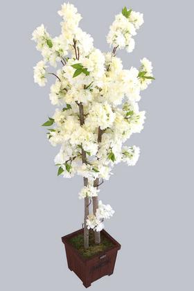 Yapay Çiçek Deposu - Yapay Bahar Dalı Ağacı 2 Gövdeli Beyaz 130 cm