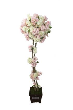 Yapay Çiçek Deposu - Yapay Bahar Dalı Ağacı 2 Gövdeli Beyaz-Pembe 180cm
