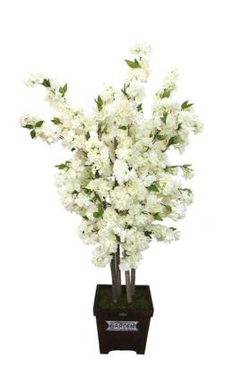 Yapay Çiçek Deposu - Yapay Bahar Dalı Ağacı 4 Gövdeli Beyaz 140 cm
