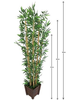Yapay Çiçek Deposu - Yapay Bambu Ağacı 6 Gövde 180 cm Lüx Kahverengi Ahşap Saksılı Model 16