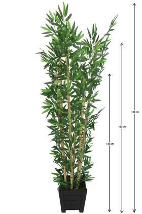 Yapay Çiçek Deposu - Yapay Bambu Ağacı 6 Gövde 180 cm Lüx Siyah Ahşap Saksılı Model 17