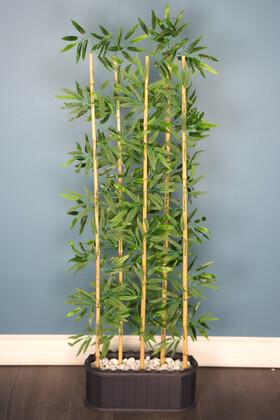 Yapay Çiçek Deposu - Dekoratif Saksıda Islak Yapraklı 5 Çubuklu Bambu Seperatör (20x50x170cm)