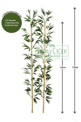 Yapay Çiçek Deposu - 170 cm Yapay 20 Dal Yapraklı Doğal Bambu Tip1