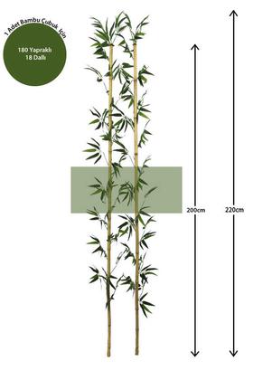 Yapay Çiçek Deposu - 220cm Yapay 18Dal Yapraklı Doğal Bambu Tip5