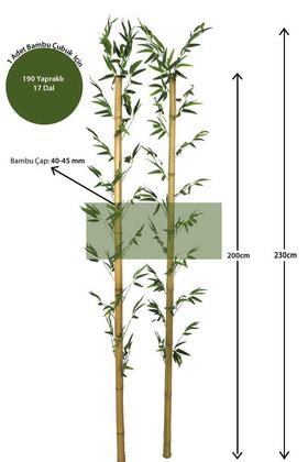 Yapay Çiçek Deposu - 230 cm Yapay 17 Dal Yapraklı Doğal Bambu 40-45 mm Kalın Tip2